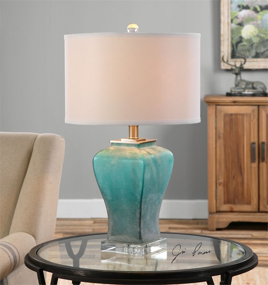 Uttermost Valtorta Blue-Green Glass Table Lamp | Home Decor ...