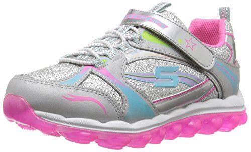 Skechers Kids Skech Air Laser Lite Sneaker (Little Kid/Big Kid), Purple/Neon Pink, 11.5 M US Little Kid