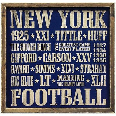 New York Giants Vintage Style 18x18 Football Wood Sign Manning Strahan Gifford +