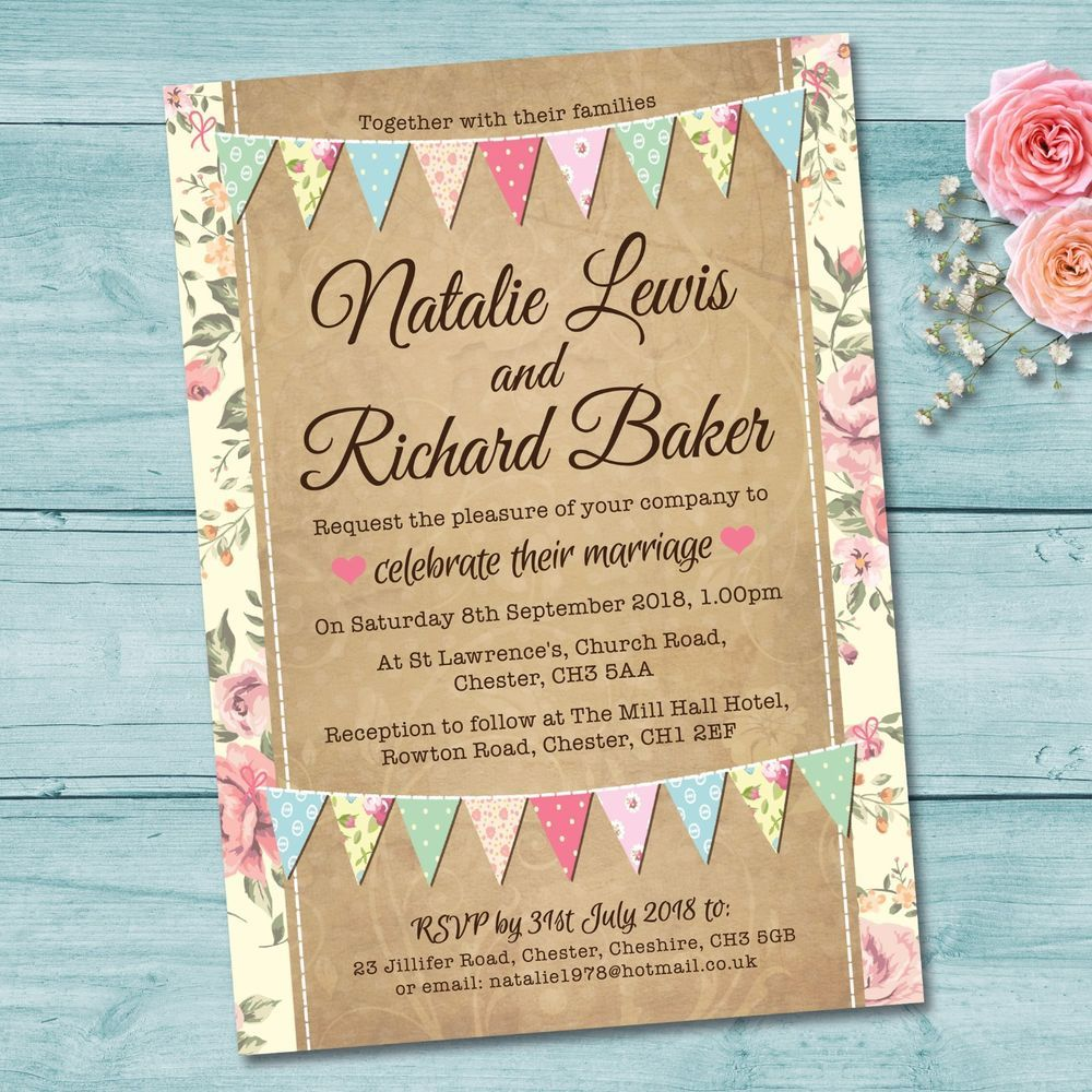 Details About Personalised Wedding Day Evening Invitations