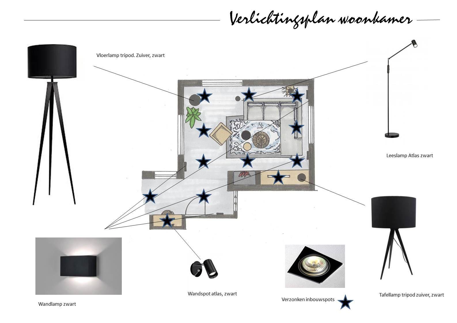 Lichtplan woonkamer  Interieur in 2019  Woonkamer