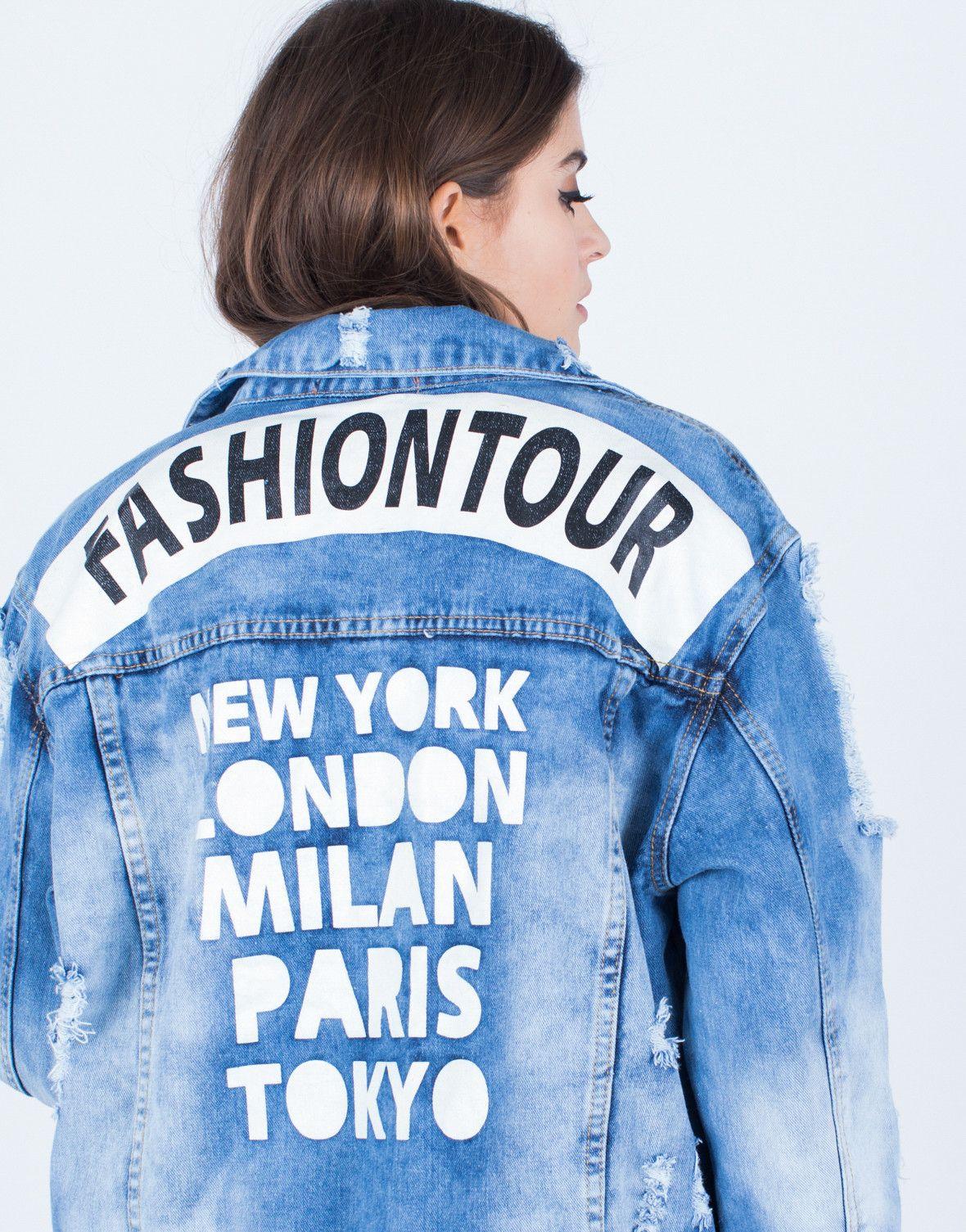 Fashion Tour Denim Jacket   Fashion, Denim t shirt, Stylish