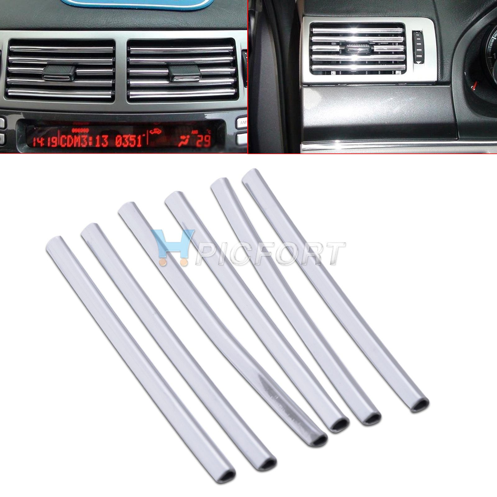 6Pcs 13cm*6mmCar U Shape Chrome Air Conditioner Vent
