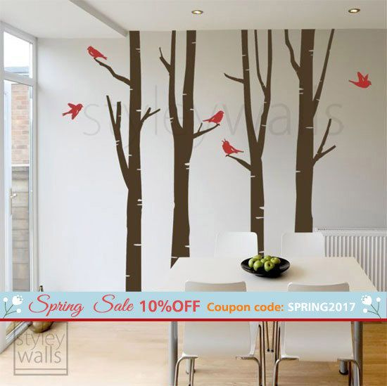 Birch Trees Wall Decal Winter Trees Wall Decal Birds GIFT BIRDS ...
