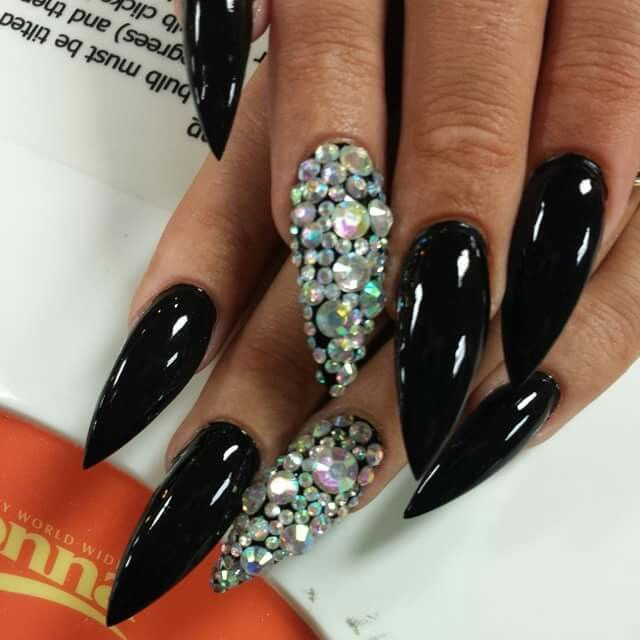 Black long stiletto nails with stones | Stiletto Nails | Pinterest ...