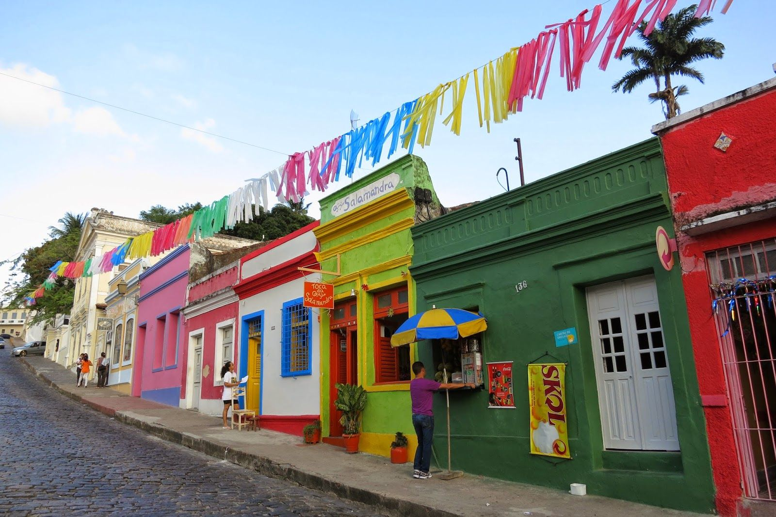 think of the colours of a Brazilian street and you can't go wrong.