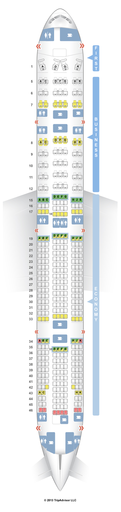 SeatGuru Seat Map TAM Boeing V St Class TAM - Japan airlines seat map 773