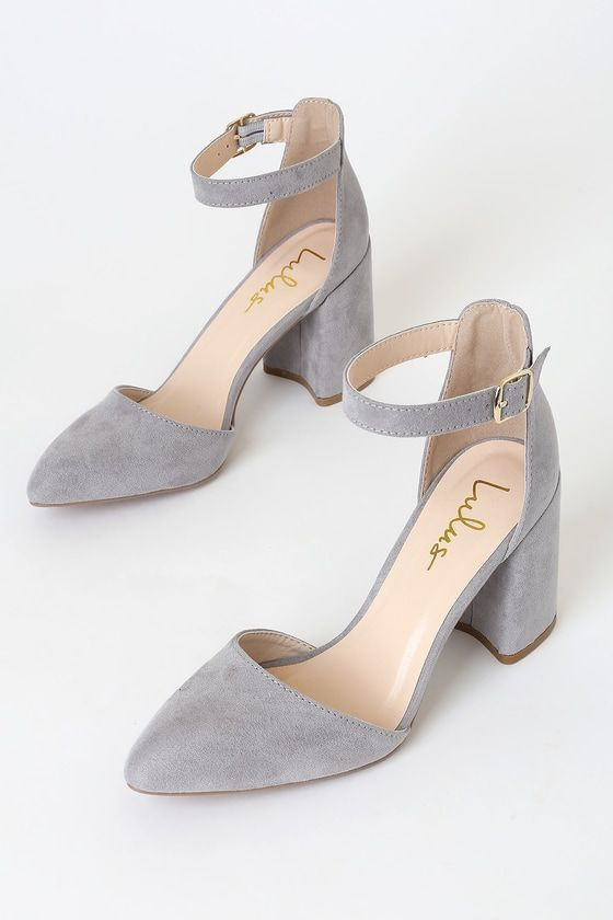 Lulus | Ellarose Grey Suede Ankle Strap Heels | Size 10 | Vegan Friendly