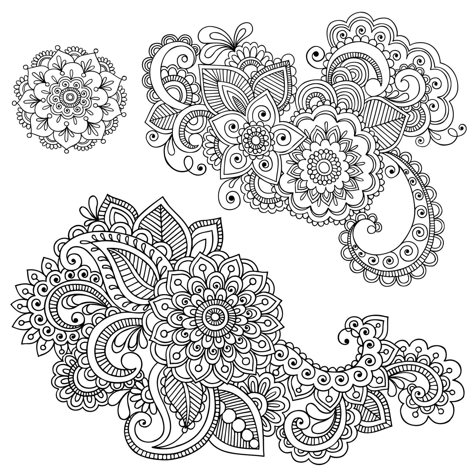 Coloring pages henna - Clip Art