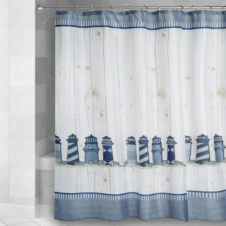 Lighthouse Shower Curtain Fabric Nautical Shabby Chic New 72 X72