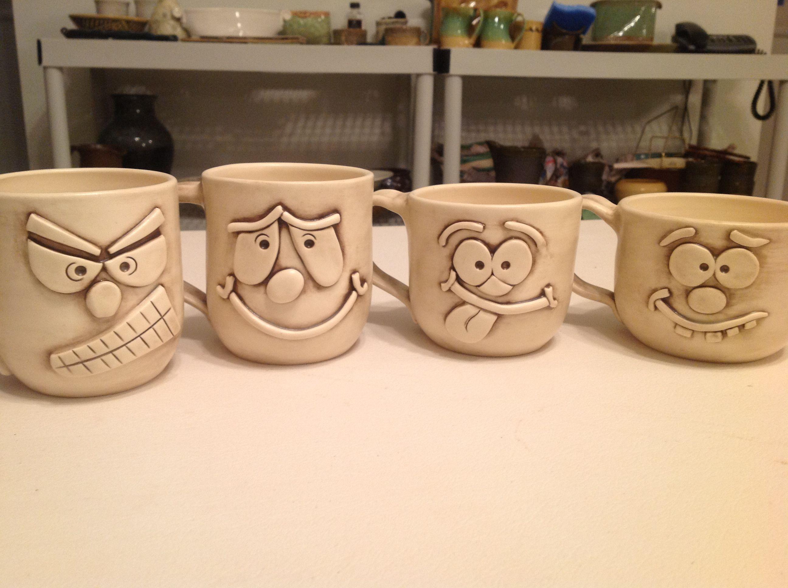 smart idea porcelain coffee mugs. Face mugs project  ceramics fun Will work for clay Pinterest