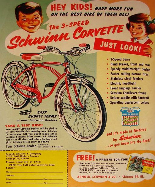 33a28de7c71 Schwinn Bicycle advertisement from 1956. This was the iconic bicycle brand  of the era. Ads such as this one often appeared in comic books.