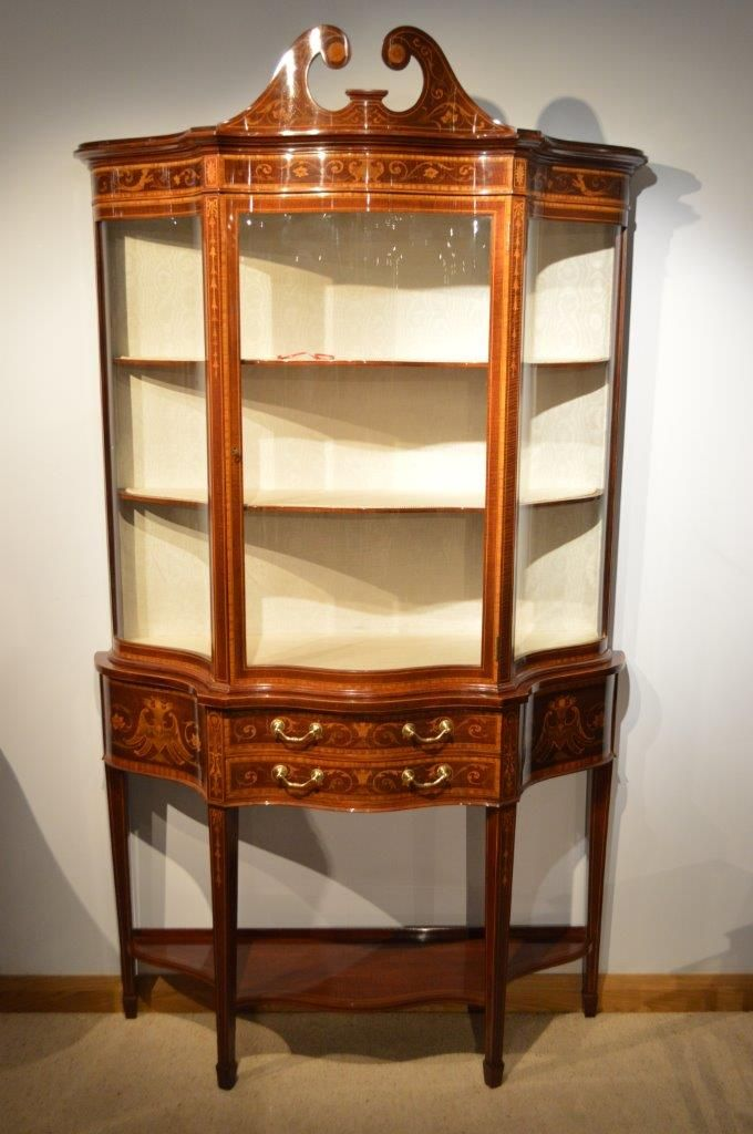 An Exhibition Quality Serpentine Antique Display Cabinet By Maple & Co Of  London C1900 - An Exhibition Quality Serpentine Antique Display Cabinet By Maple