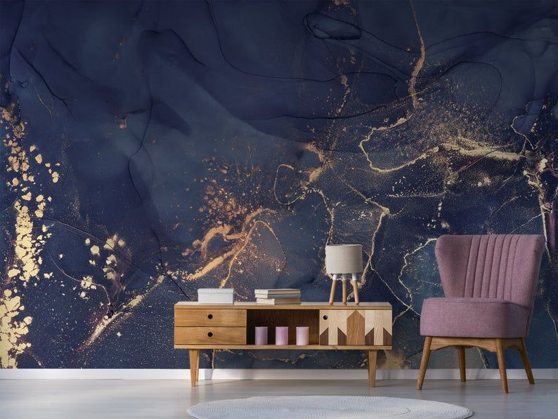 Dark Blue And Sand Abstract Wallpaper Peel And Stick Wall Etsy In 2021 Blue And Gold Wallpaper Accent Wallpaper Blue And Gold Bedroom
