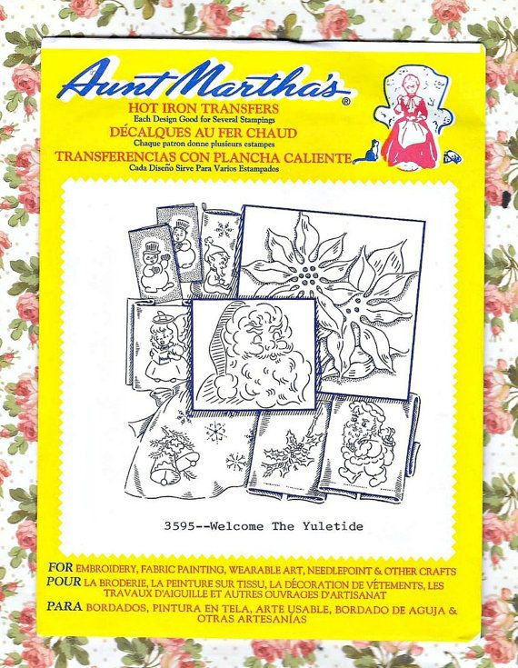 Christmas Yuletide Hot Iron Embroidery Transfer - Aunt Martha\'s 3595 ...