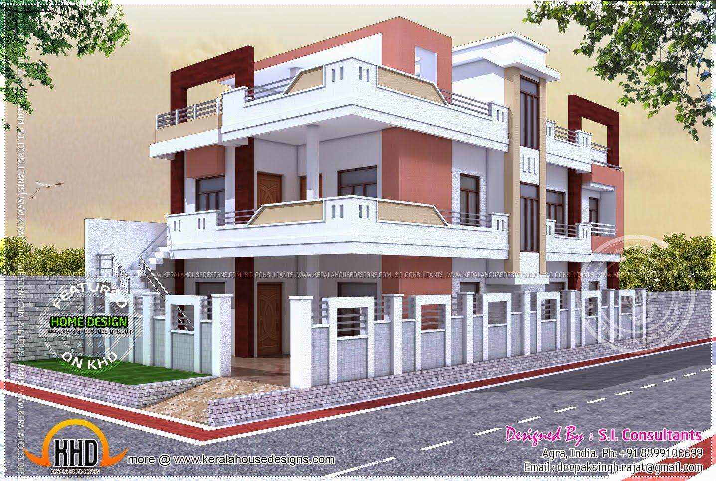 North indian house house elevation pinterest indian for Front view of duplex house in india