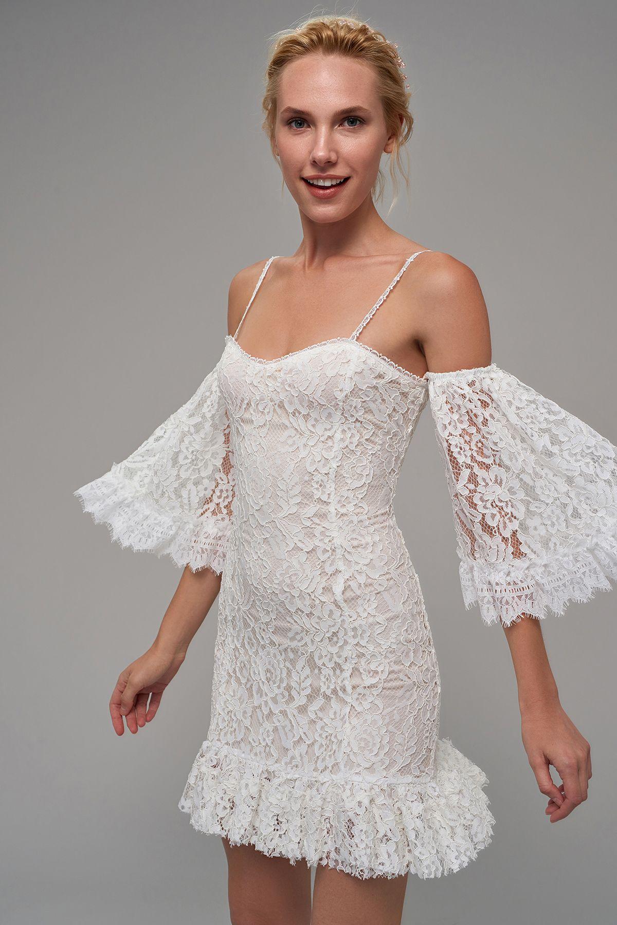 Ekru Godeli Gupur Elbise Trendyolmilla Trendyol Elbise Modelleri Elbise Kisa Elbiseler