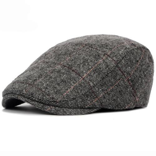 1dd3fcb8ba6 HT1329 2017 Autumn Winter Men Cap Hats Berets British Western Style Wool  Advanced Flat Ivy Cap Classic Vintage Striped Beret Cap