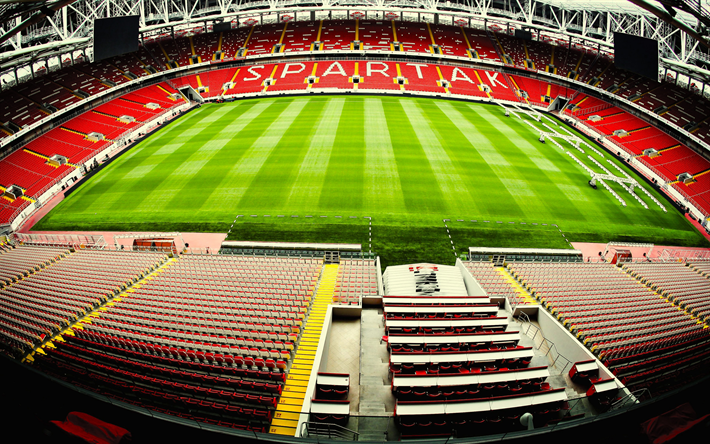Download Wallpapers Spartak Stadium 2018 Fifa World Cup Otkritie Arena Football Lawn Russian Stadium Red Bleachers Russia Moscow Besthqwallpapers Com Fifa World Cup Arena Football Stadium