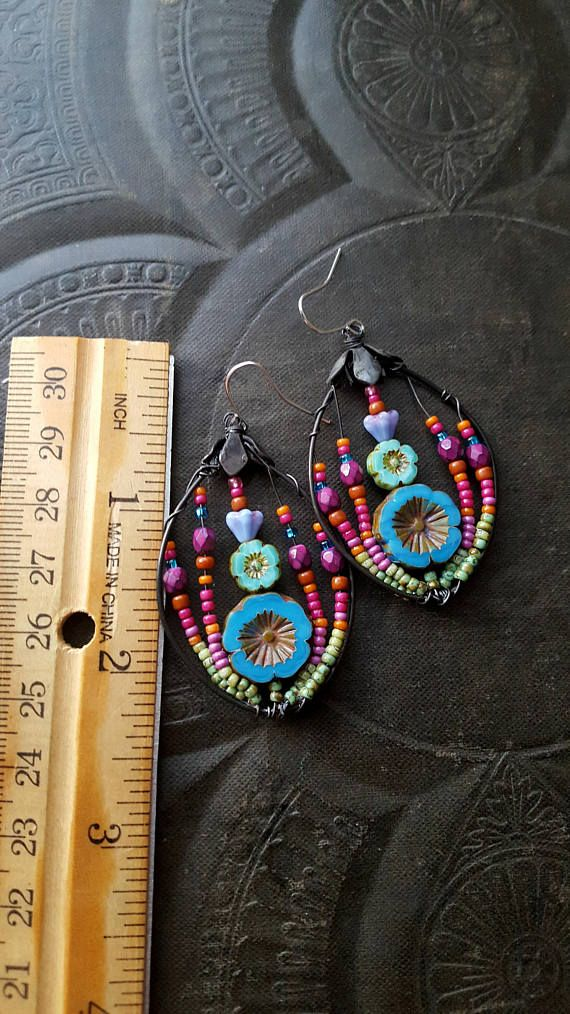 Flowers Wire Wrapped Hoops Blossom Series Bohemian Gypsy