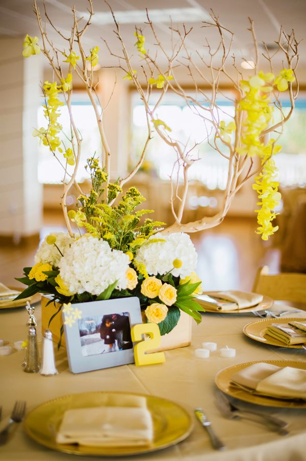 Yellow wedding centerpieces grey superhero