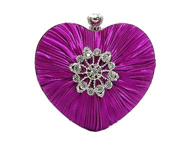 PURPLE SATIN HEART CLUTCH BAG WITH DIAMANTE DESIGN, £11.00