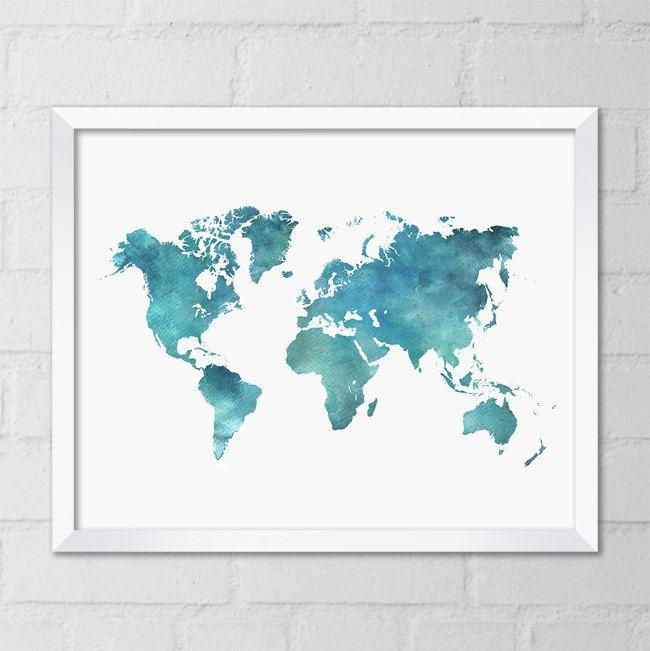 World Map X Printable Digital File Art By CheekySheepDesigns - 8x10 printable world map