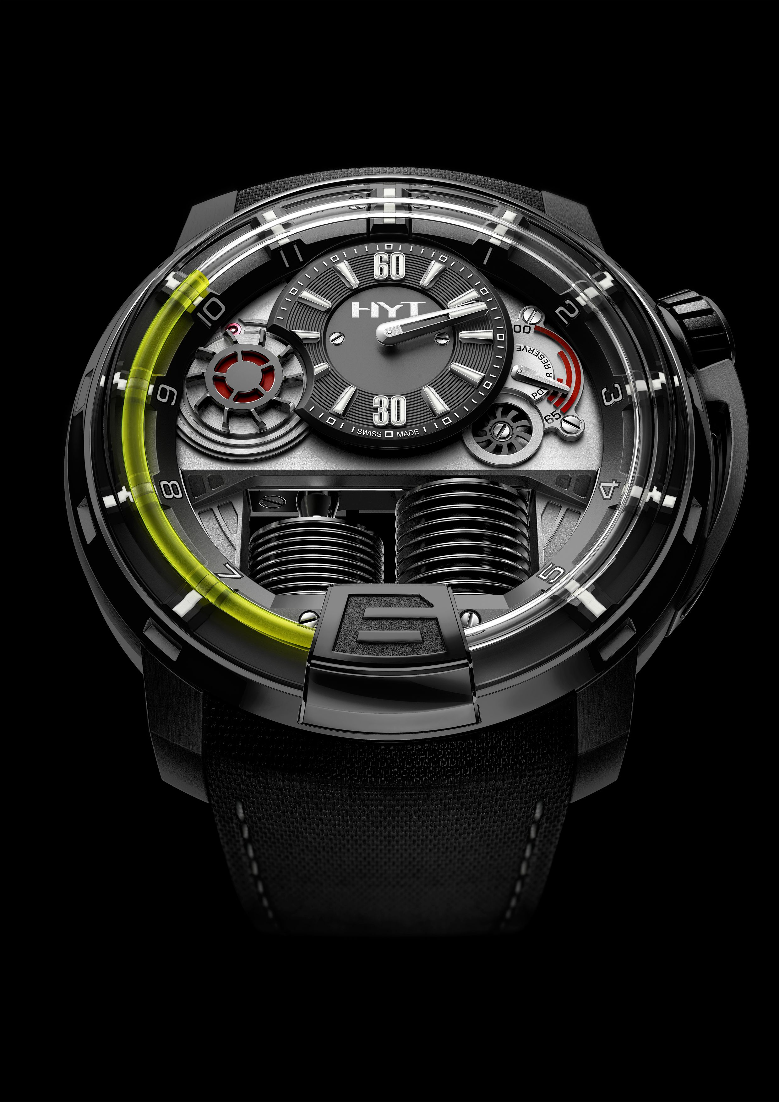 liquid collection hyt amp black gold dial pink watches on strap dlc titanium silver