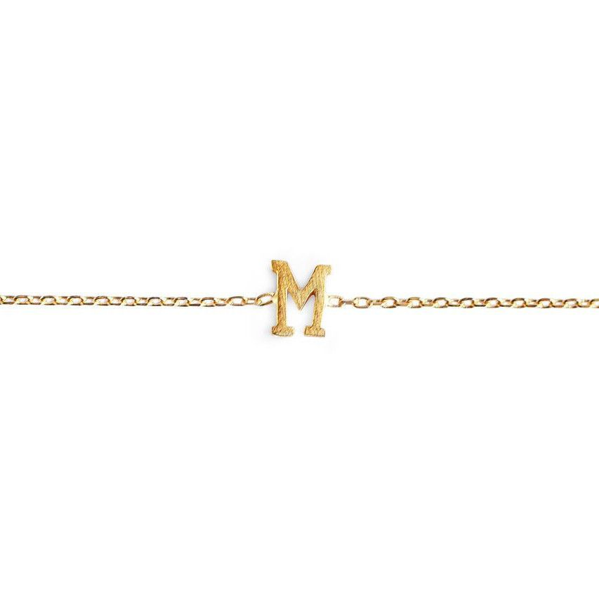M Initial Bracelet. Personal and Delicate Jewelry. 24-karat Gold Plated. #mulberryandgrand