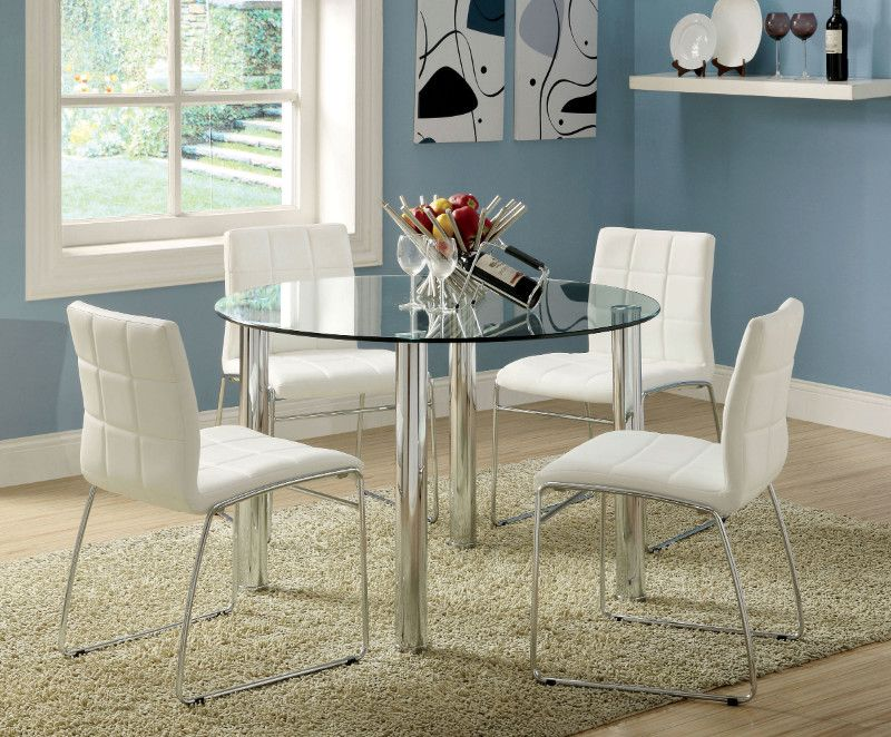 Cm8320t Wh 5 Pc Kona 45 Round Gl Dining Table Set With