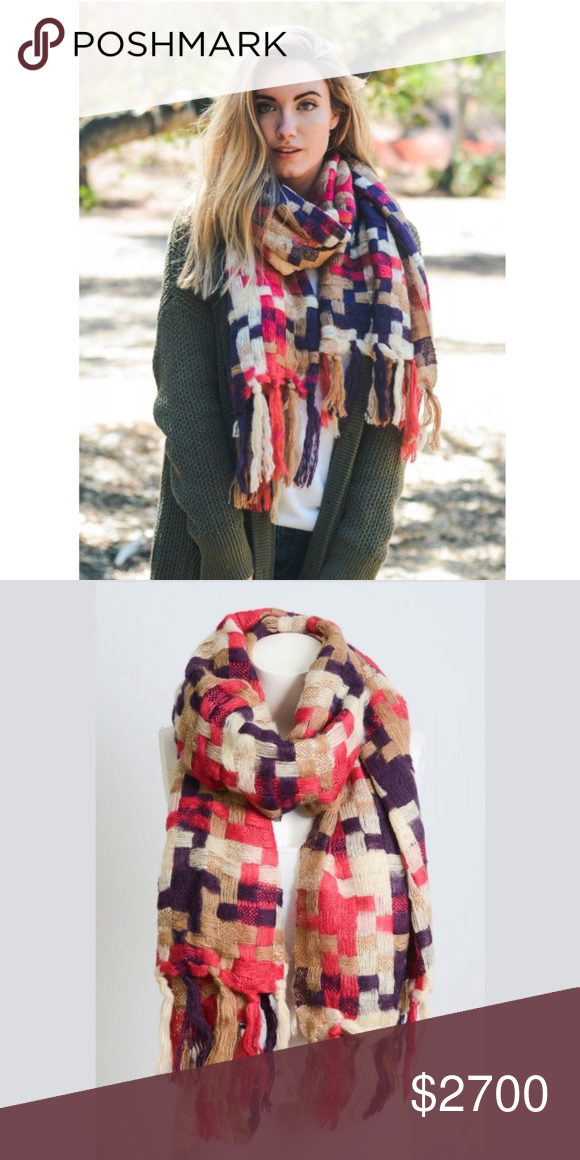 "e03a414abcf7 Patchwork Woven Multicolor Tassel Scarf 100% acrylic Size 82""x25"" Color -  fuchsia - pink"