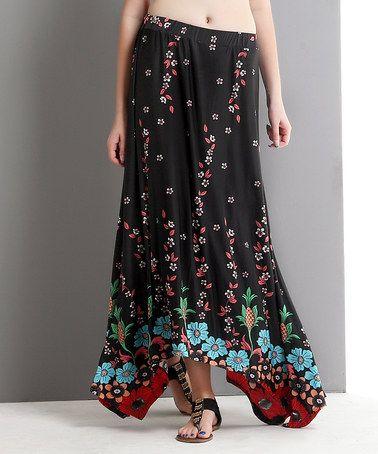 e5b4e3ed75 Look at this  zulilyfind! Black Flower Handkerchief Maxi Skirt by Reborn  Collection  zulilyfinds