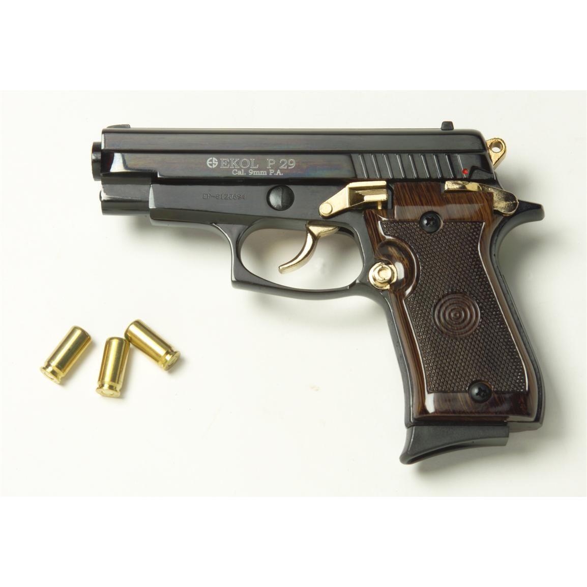 Blank Firing 9 Mm P29 Semi Automatic Pistol Black Gold Pistol