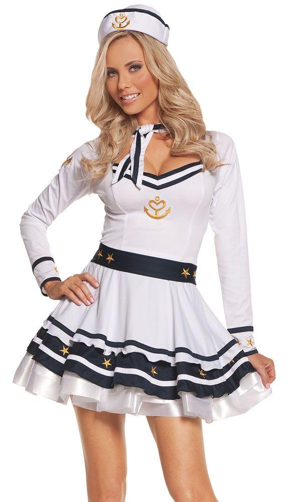 Sailor Girl Halloween Costume Large L Women Sexy White Dress USA