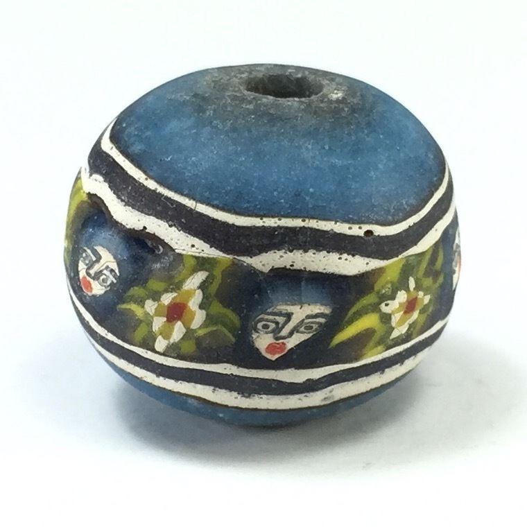 RARE Old Face Islamic Blue Roman Glass Bead Pattern Phoenician Near Eastern M61 picclick.com