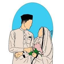 Hasil Gambar Untuk Kartun Pernikahan Islami Hitam Putih