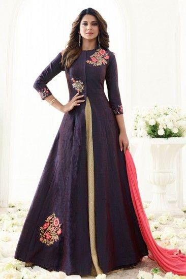 Jennifer Winget Purple And Cream Banarasi Silk Anarkali Suit ...
