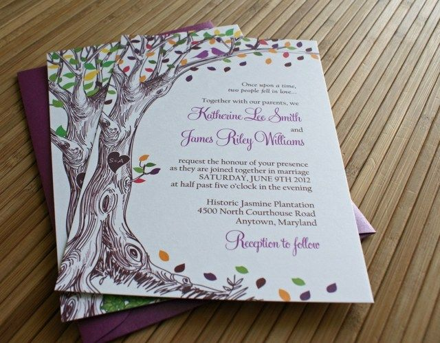 Lila Hochzeitskarte Mit Baum   Zeichnung Als Hintergrund