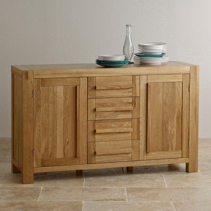 Fresco Natural Solid Oak Large Sideboard | Oak Furniture Land | de ...