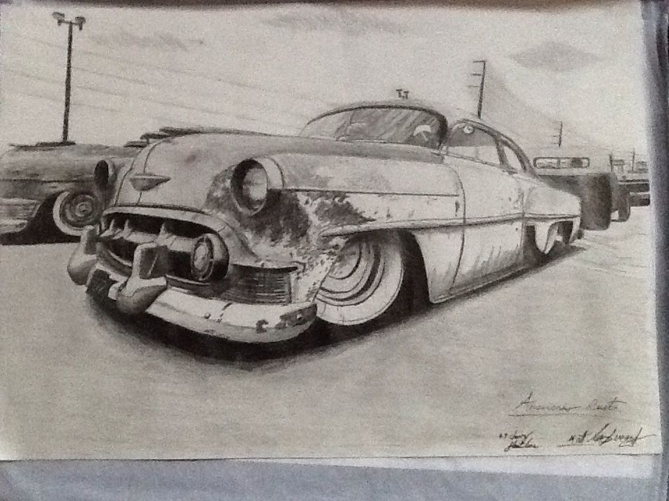 This is a pencil drawing of a 1954 Chevy bel air, that I did over 2 ...