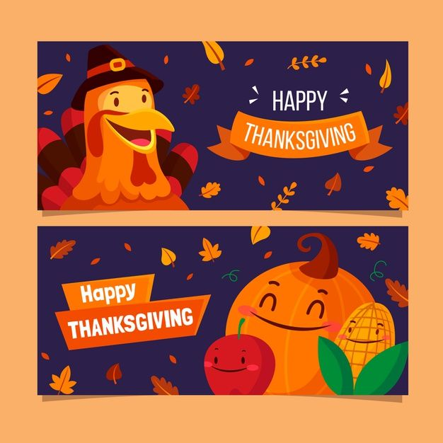 Download Flat Design Thanksgiving Banners Template for ...
