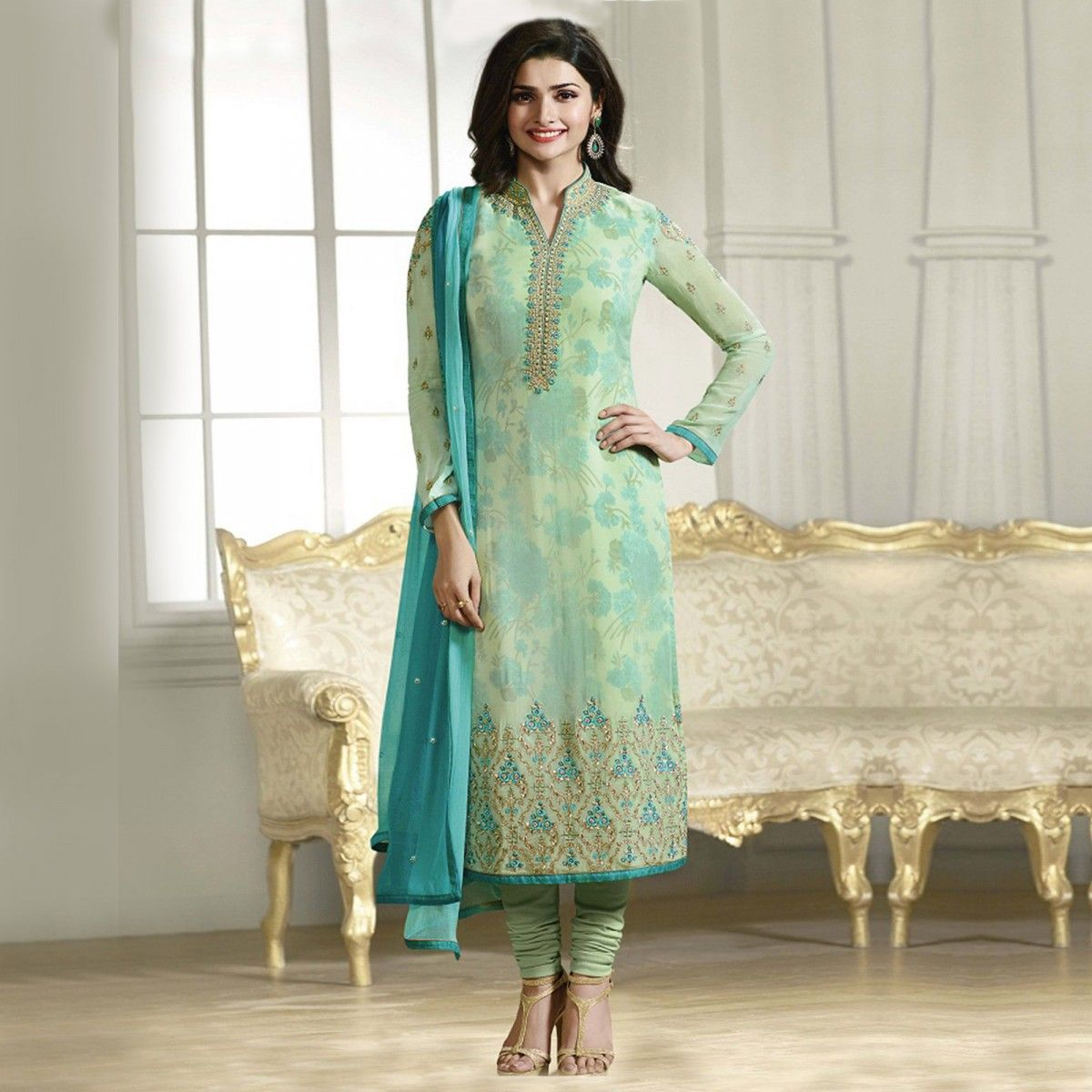 Buy Turquoise Party Wear Designer Salwar Suit Online Women Ethnic ...