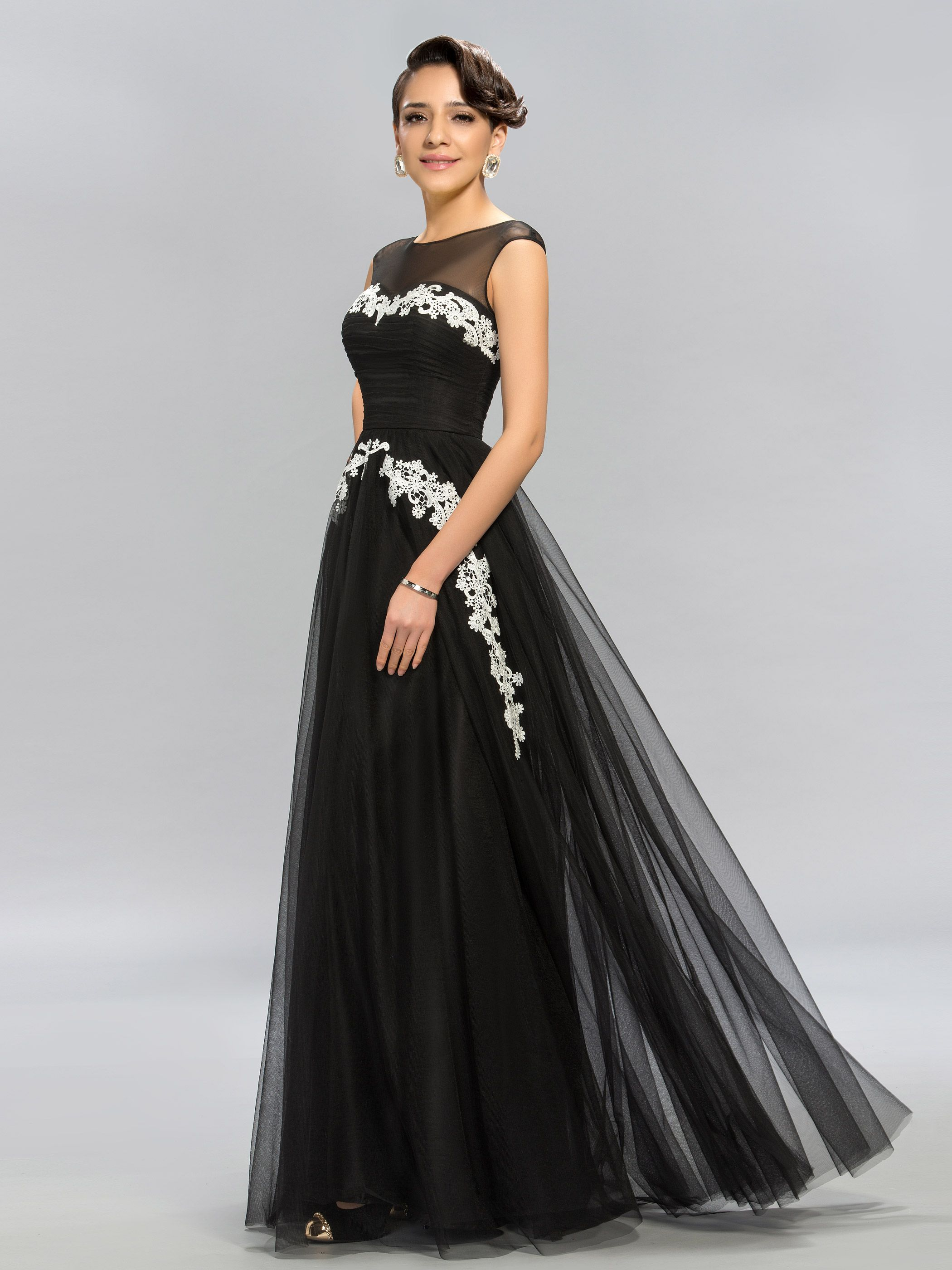 Timeless aline bateau neck appliques long formal dress formal