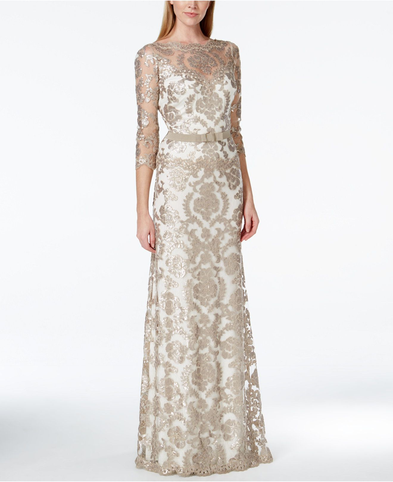 Tadashi Shoji Damask Sequin Lace Bow Gown - Dresses - Women ...