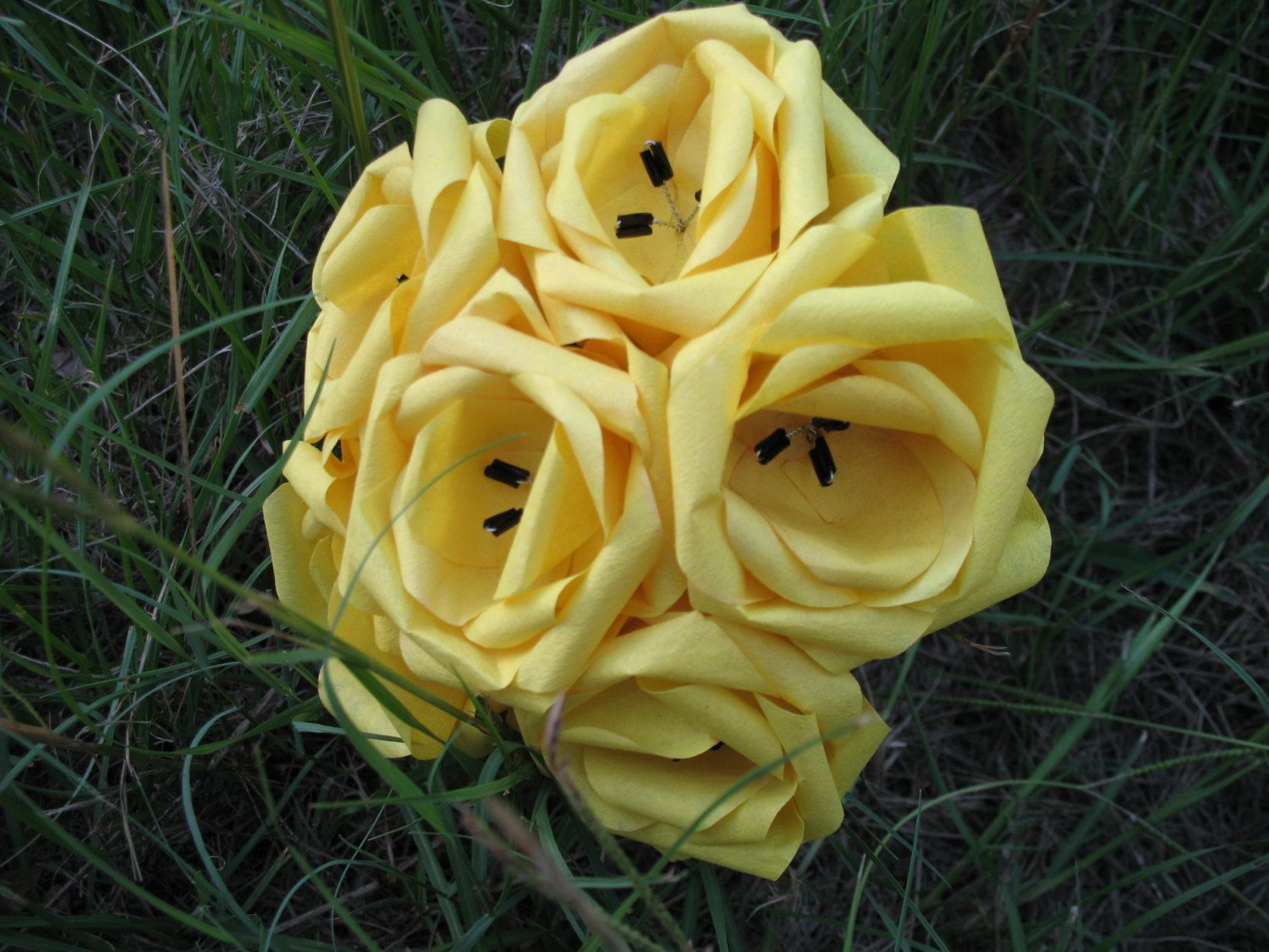 Sunny+Yellow+Paper+Flower+Bouquet+by+FencePostFlowers+on+Etsy,+$8.00
