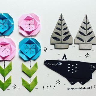 森の中のオオカミ 赤ずきんちゃんはまだ出て来ません 折り紙 おりがみ イラスト オオカミ おはな 木 赤ずきん Paperflower Origami Illustration Wolf Papertree Littleredridinghood 折り紙 おりがみ おりがみ 花