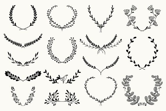 Text dividers and wreaths bundle pack / hand drawn decorative | Etsy