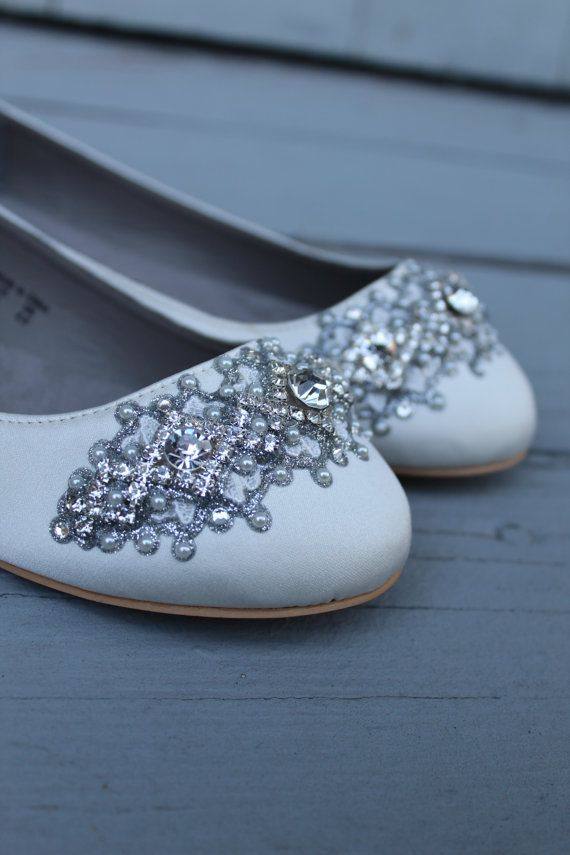 fc9479259 Downton Abbey Bridal Ballet Flat Wedding Shoes - All Full Sizes - Pick your  own shoe color and cryst