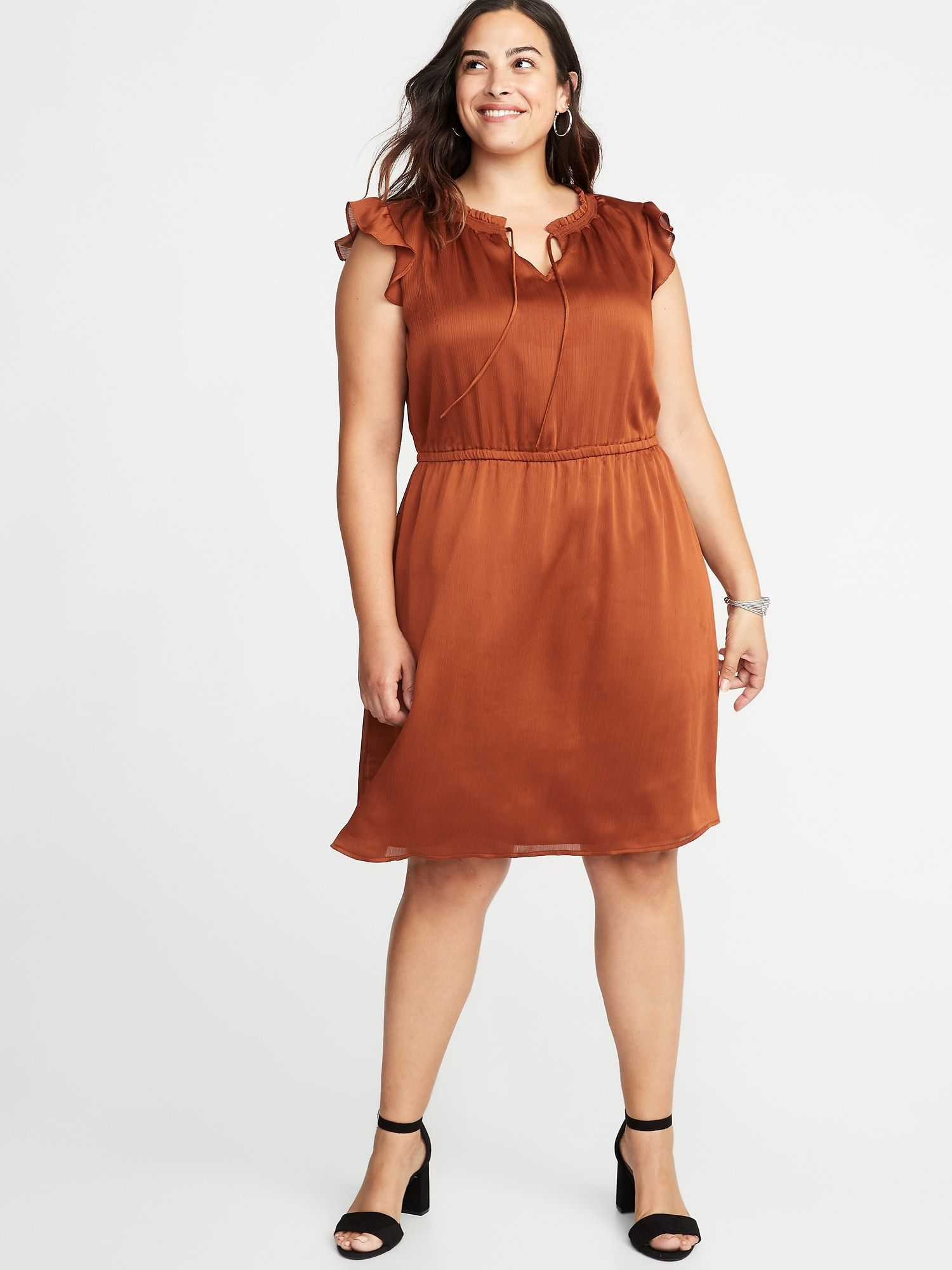 Waist-Defined Crinkle-Georgette Plus-Size Dress in 2019 | My Style ...