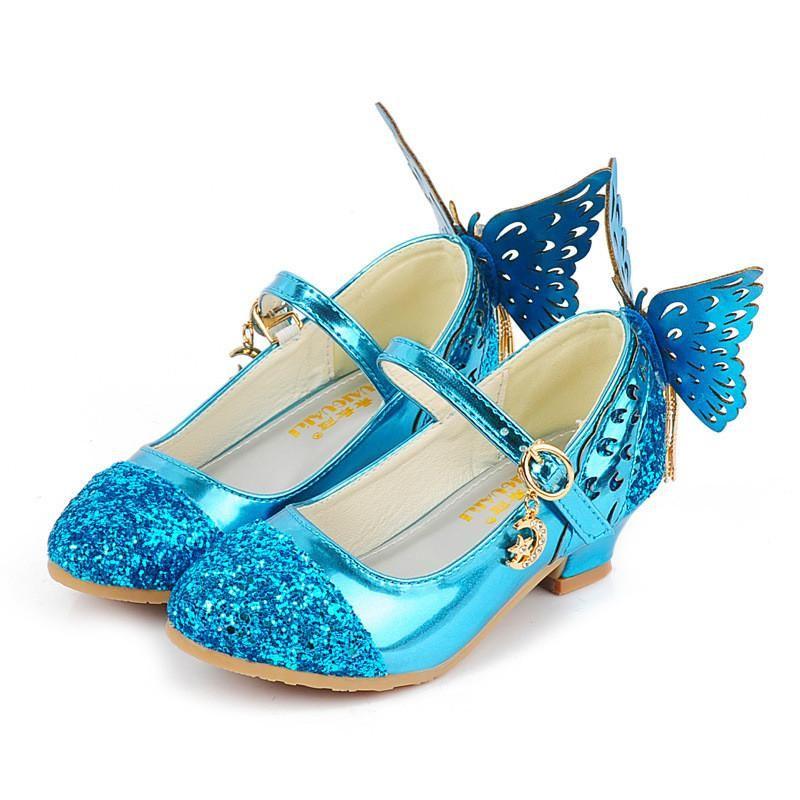 Summer Children Girls Shoes Glitter Princess High Heels Sandals Pink Dance Weddings Kids Fashion Butterfly Cry Girls Shoes Teenage Girls Shoes Kids Girls Shoes